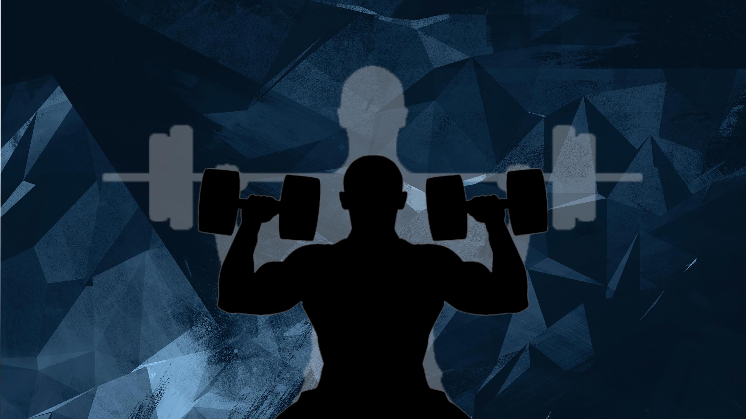 Картинка фитнес для шапки ютуба с силуэтом мужчины с гантелями.