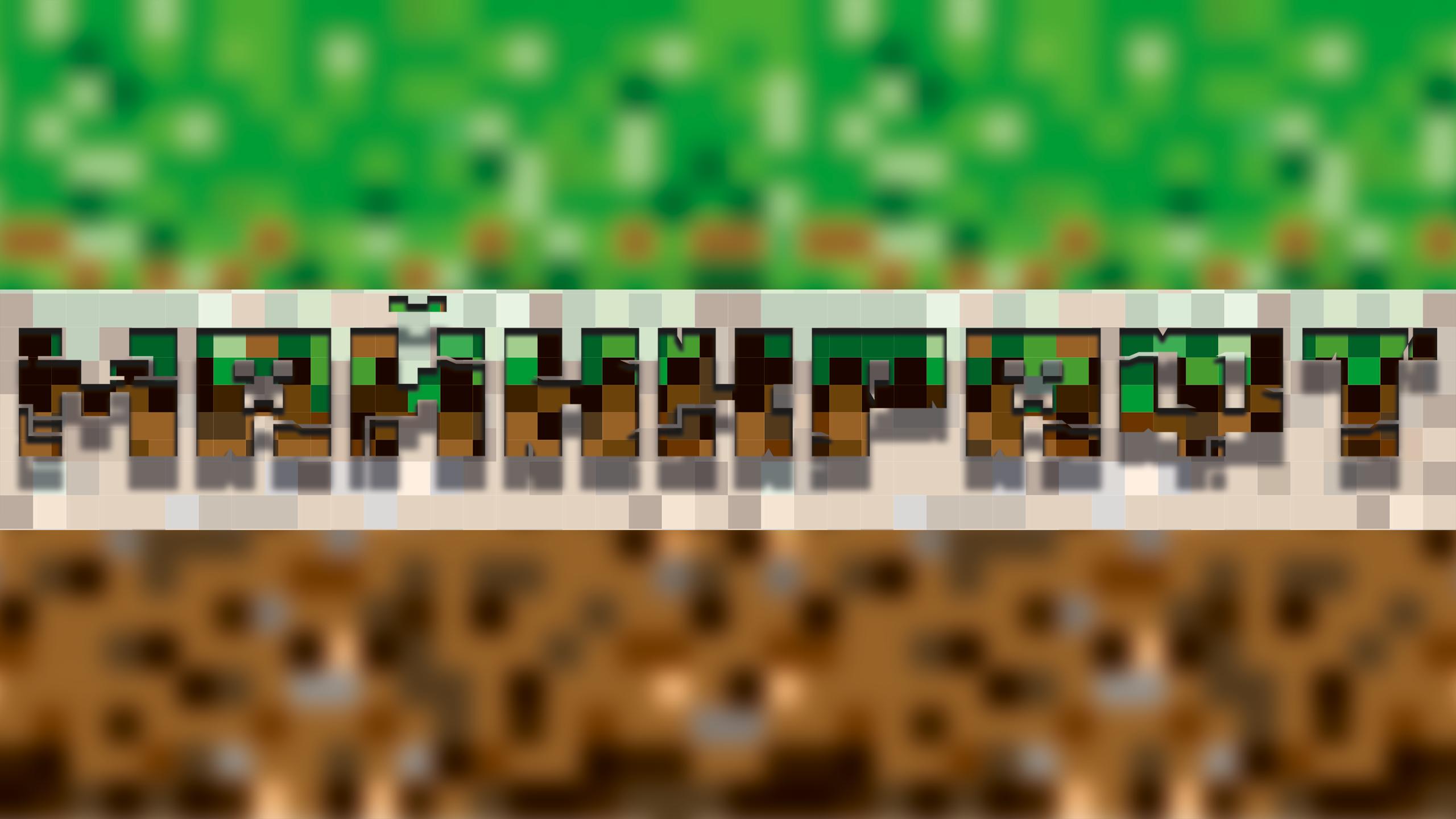 Картинка для шапки ютуб с надписью майнкрафт на зелёно - коричневом фоне.