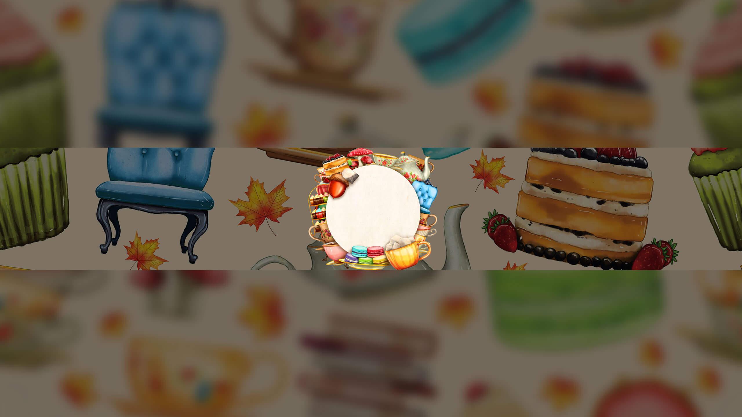 Картинка для шапки ютуба с чашками чая и мебелью.