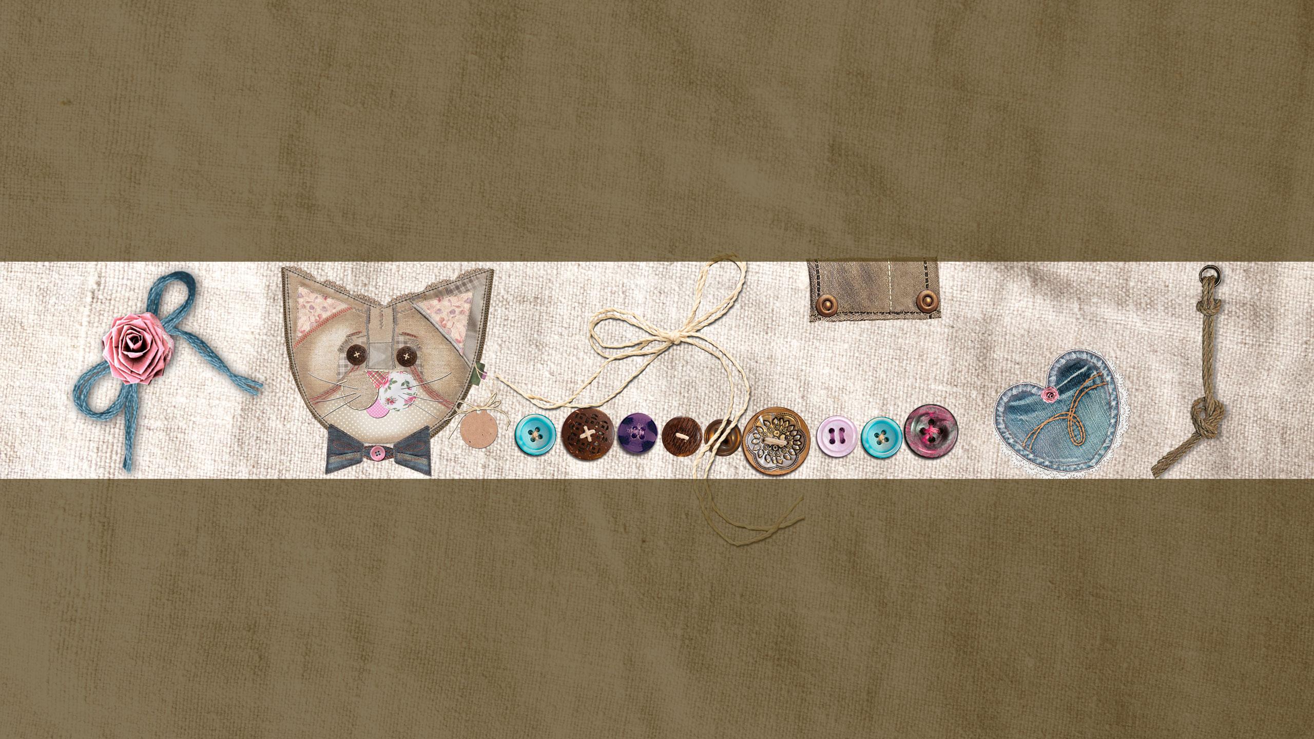 Картинка для фона на ютуб с мордой кошки и пуговицами.