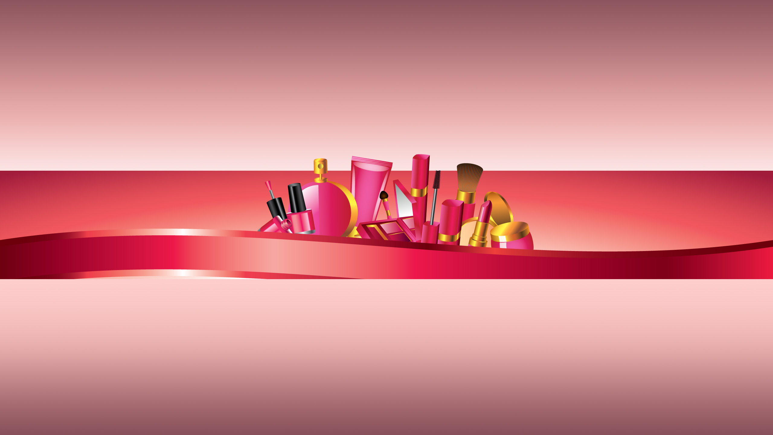 Розовая картинка для женского баннера на ютуб с косметикой.