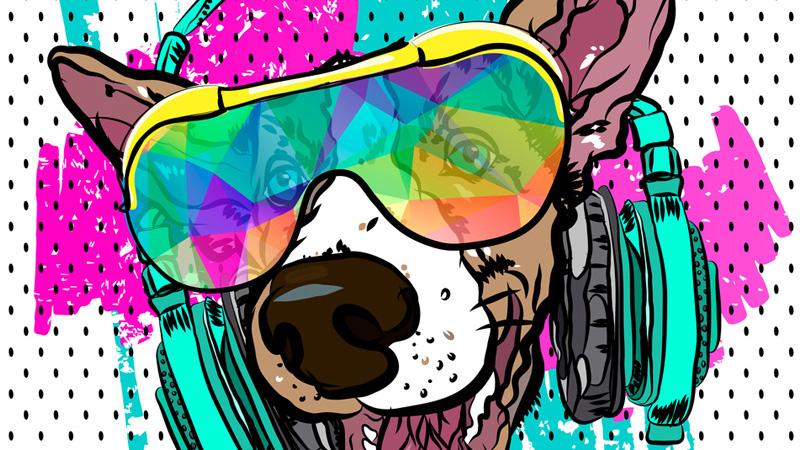 Картинка голова собаки в наушниках и солнечных очках на аватарку для форума.