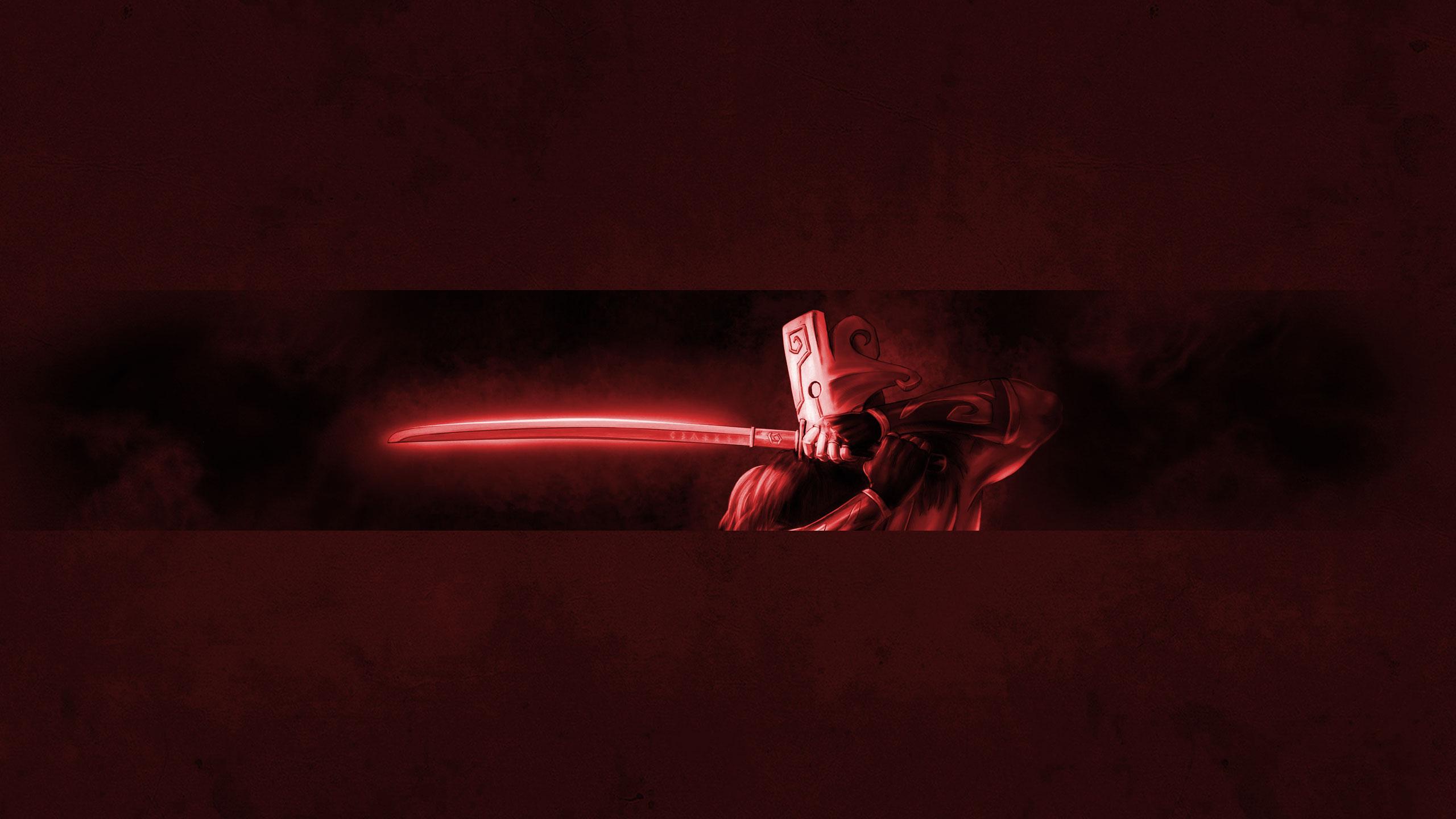 Красная картинка для шапки ютуба с персонажем игры Дота с мечом в руках.