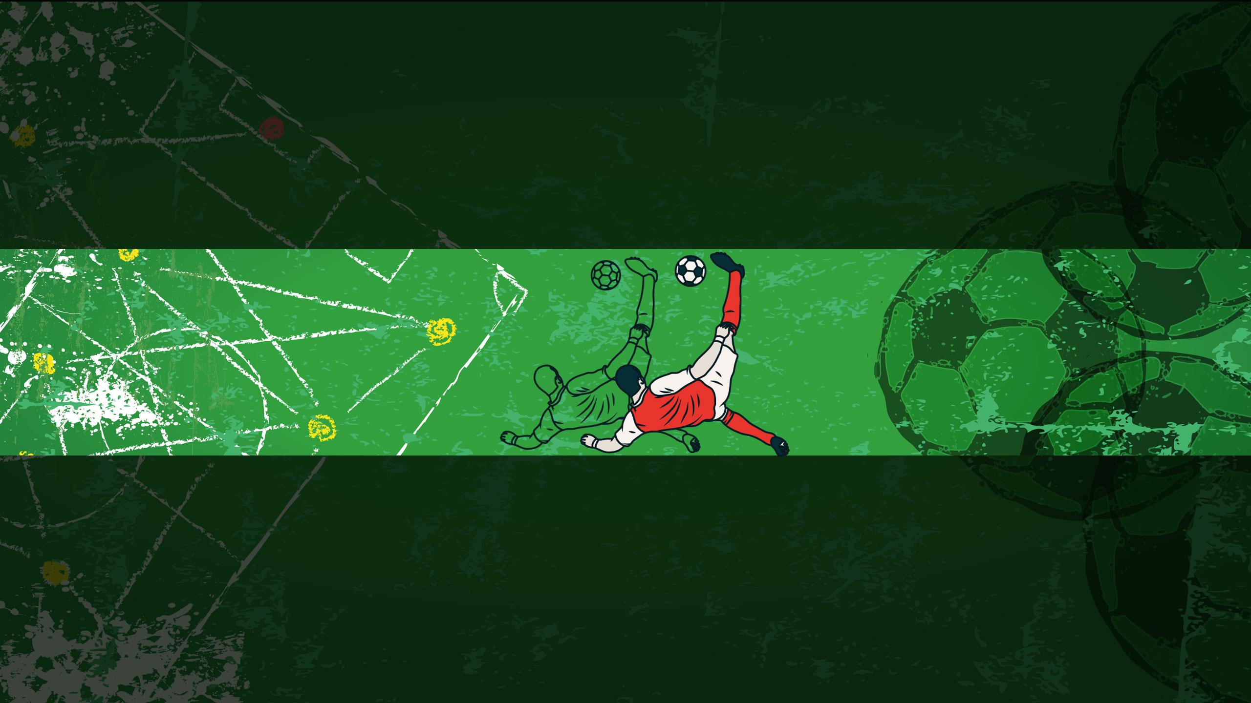 Зелёная картинка для шапки с футболистом.