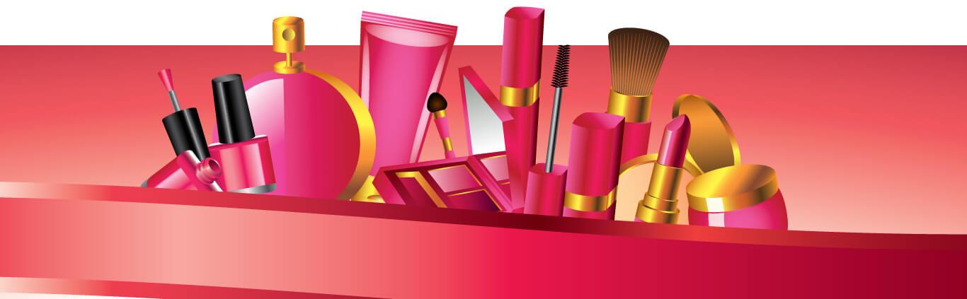 Картинка розовый banner youtube template с косметикой для девушек