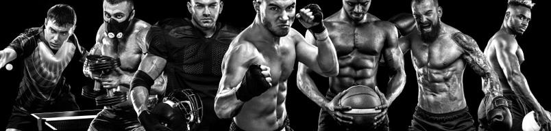 Картинка черно белая обложка для ютуб канала с мускулистыми культуристами и боксерами