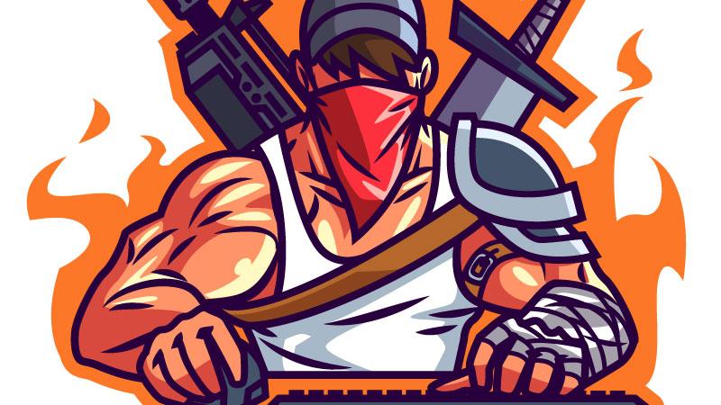 Картинка на аву ютуба геймер с мечом и автоматом.