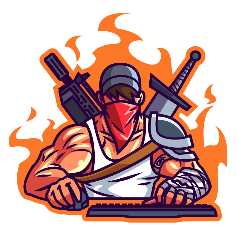 Картинка геймер с мечом и автоматом на аву ютуба.