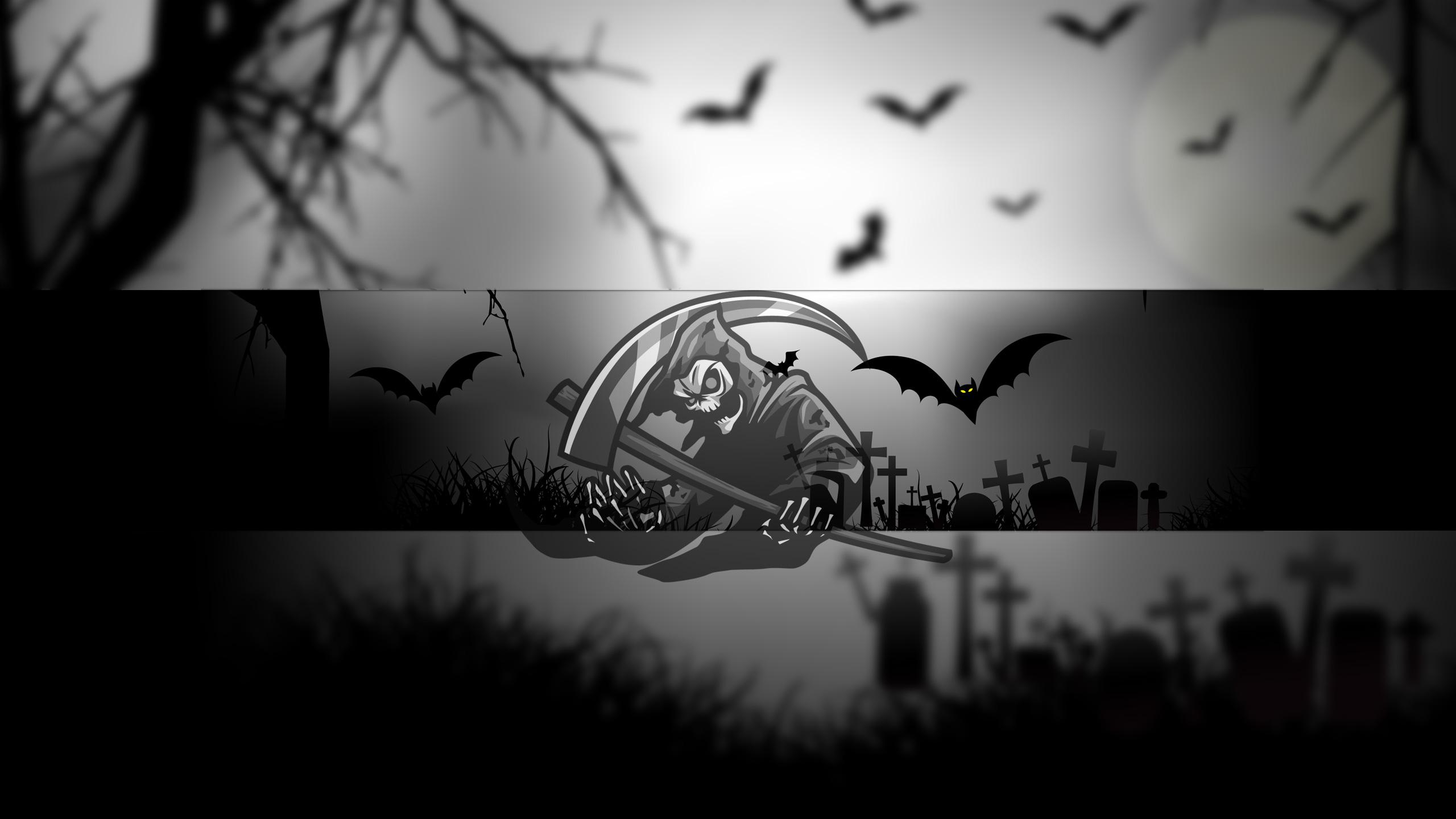 Чёрно - белая картинка хэллоуин для шапки ютуба со скелетом.