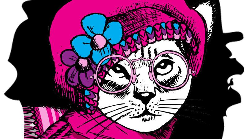 Картинка для аватарки кошка в очах, красной вязаной шапке и шарфе.