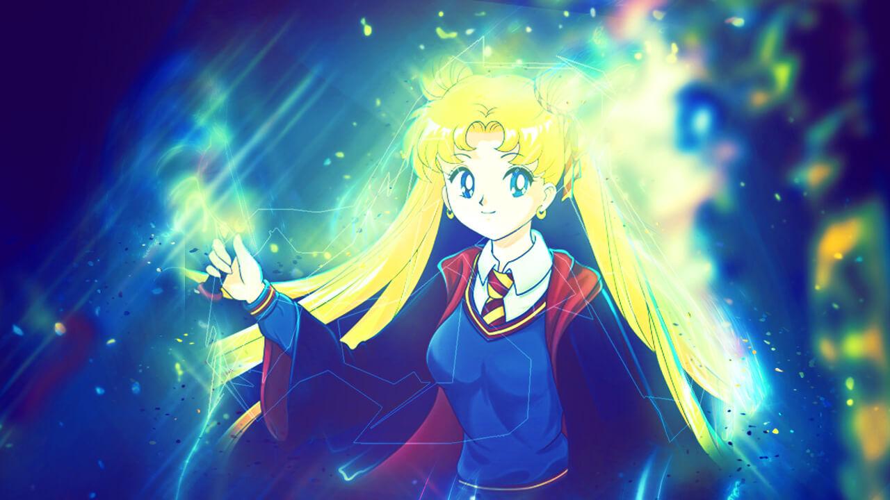 Картинка в стиле аниме для обложки на ютуб с девочкой Сейлор Мун.