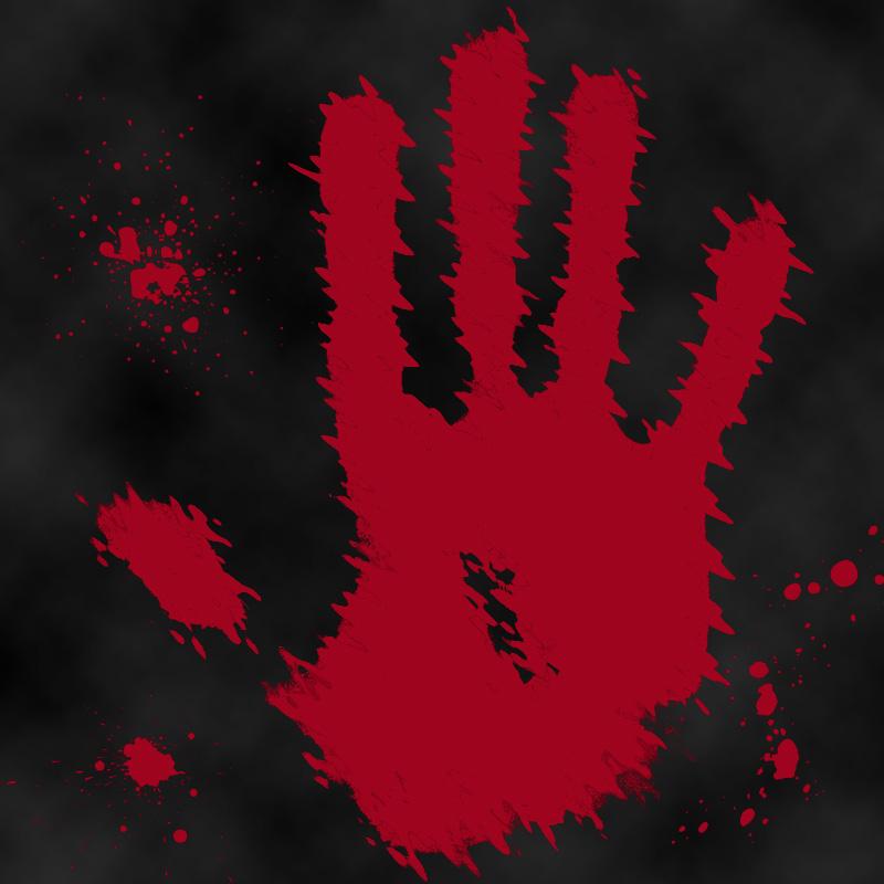 Отпечаток ладони человека красного цвета на чёрном фоне.