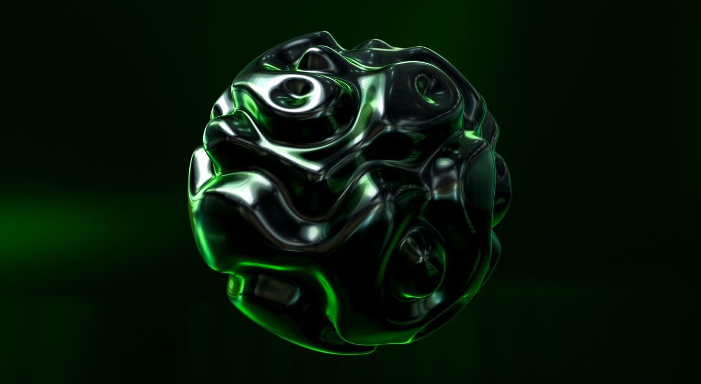 Зеленая видео заставка на ролик для ютуба с гелевым шаром.
