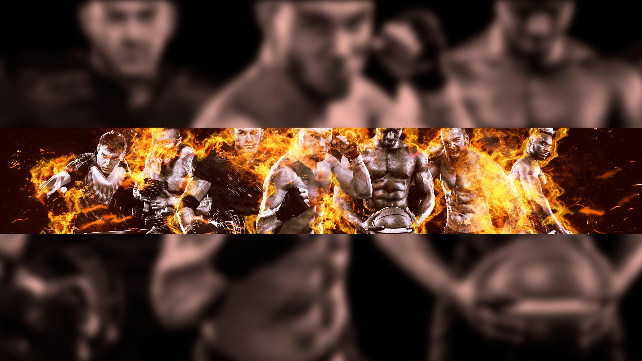 Картинка на фон для ютуба с бойцами спортивных единоборств на фоне пламени.