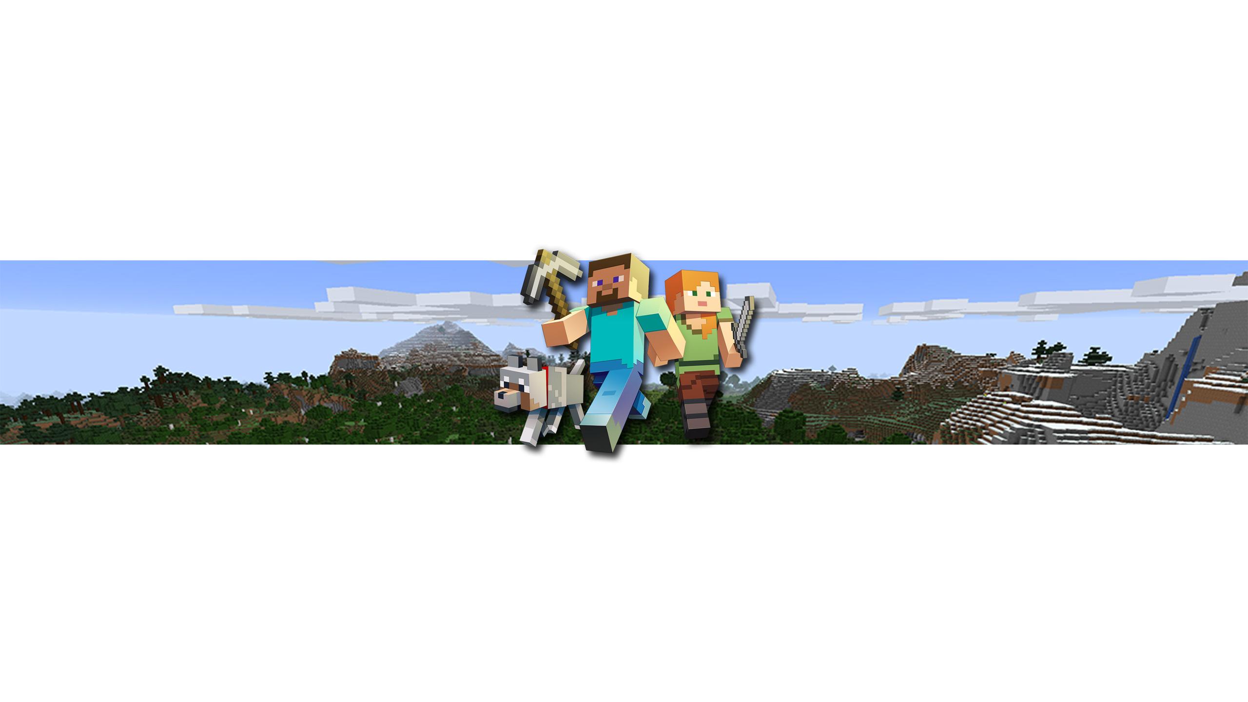 Картина для фона на ютуб с персонажами игры майнкрафт Стивом и Алекс.
