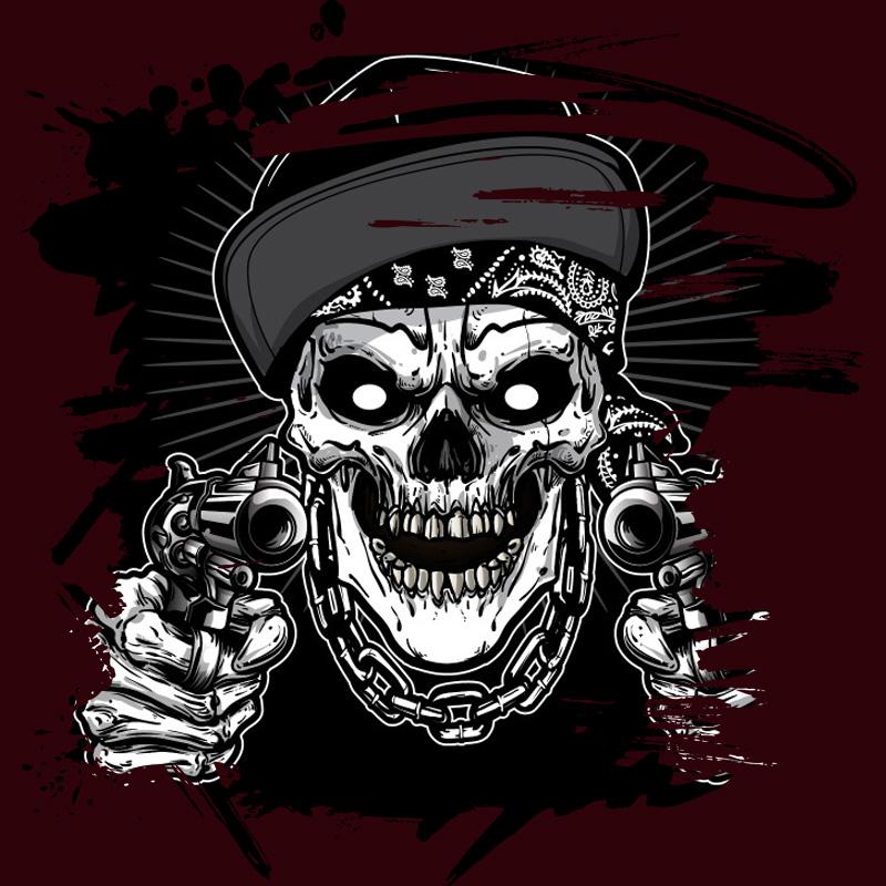 Картинка череп пирата с пистолетом на тёмно коричневом фоне.
