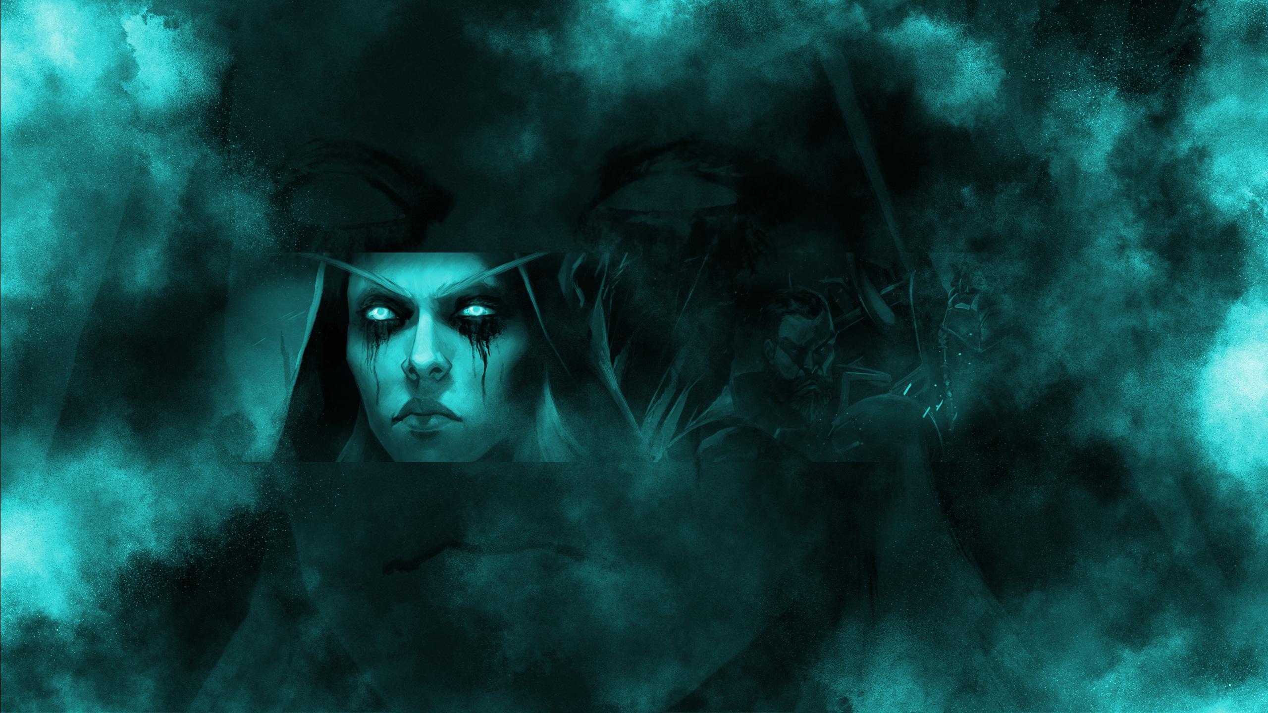 Бирюзовая картинка для фона ютуба с персонажем игры варкрафт.