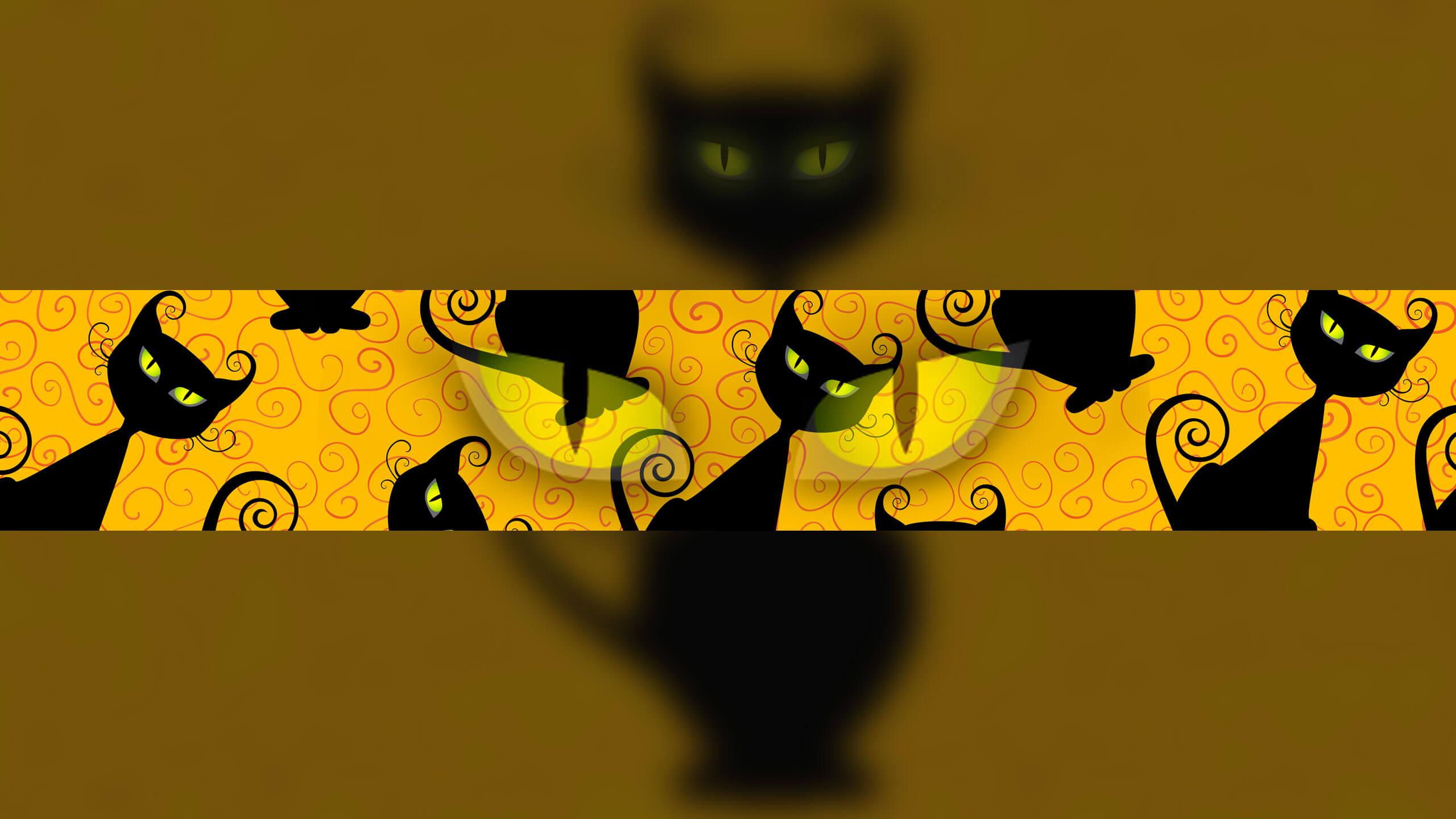 Жёлтая картинка с чёрными кошками для шапки ютуб