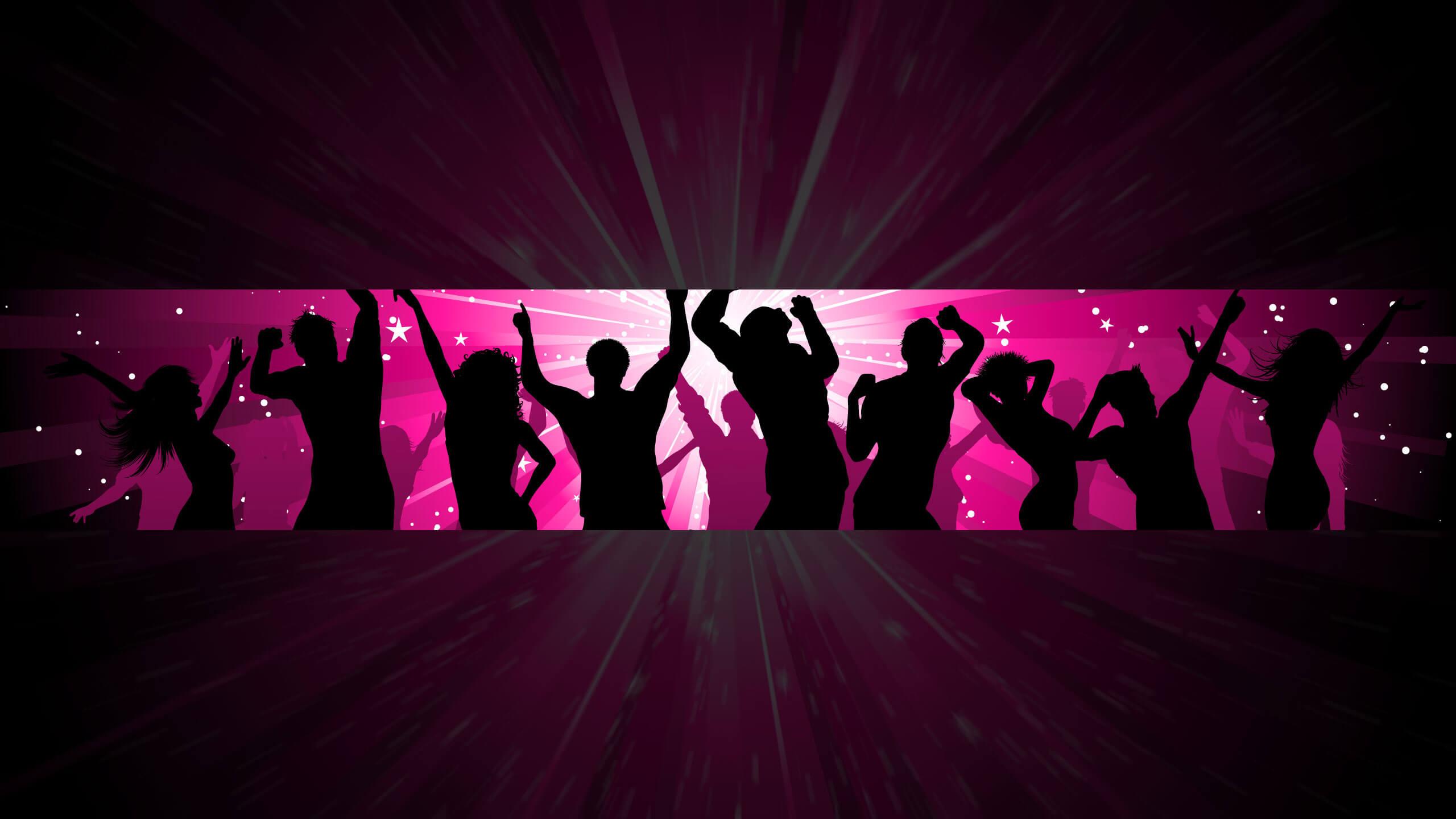 Картинка размером 2560 х 1440 для шапки ютуба без текста с силуэтами танцующих людей на розовом фоне.