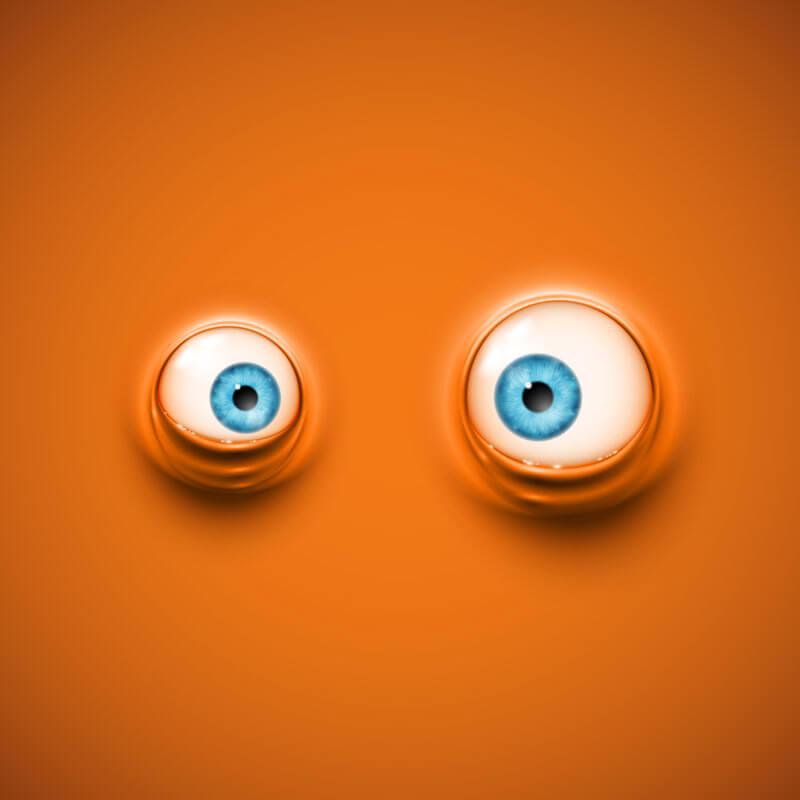 Оранжевая картинка для авы на канал ютуб с выпученными глазами.