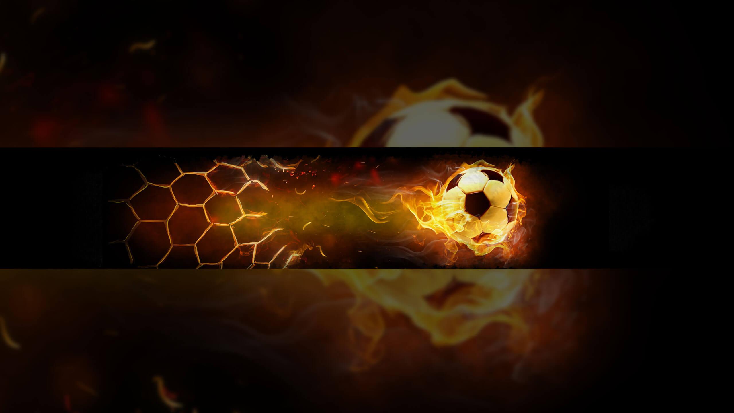 Картинка для баннера на ютуб с огненным футбольным мячом.