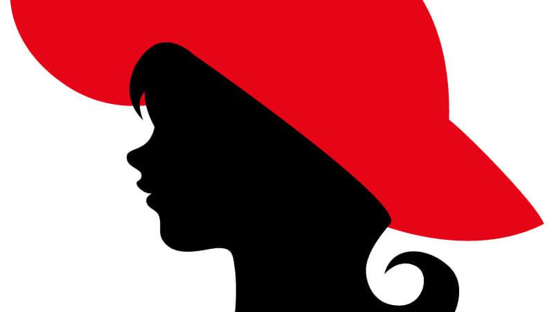 Картинка профиль головы девушки в красной шляпе на аватарку для ютуб канала.