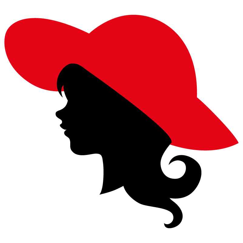 Профиль головы девушки в красной шляпе.