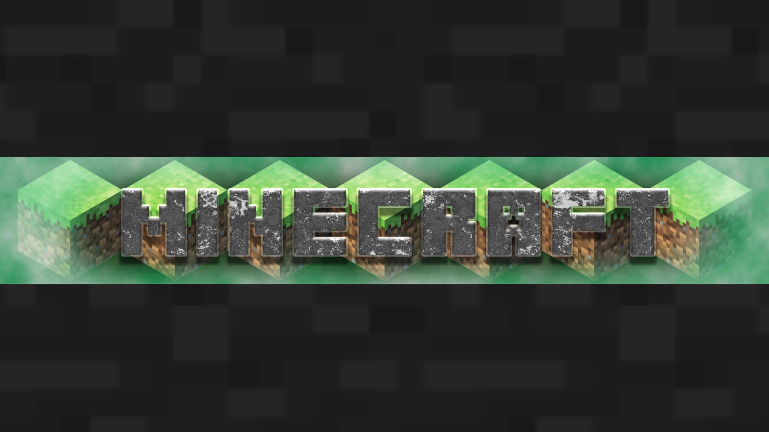 Зелёная картинка для шапки ютуба на надписью майнкрафт.