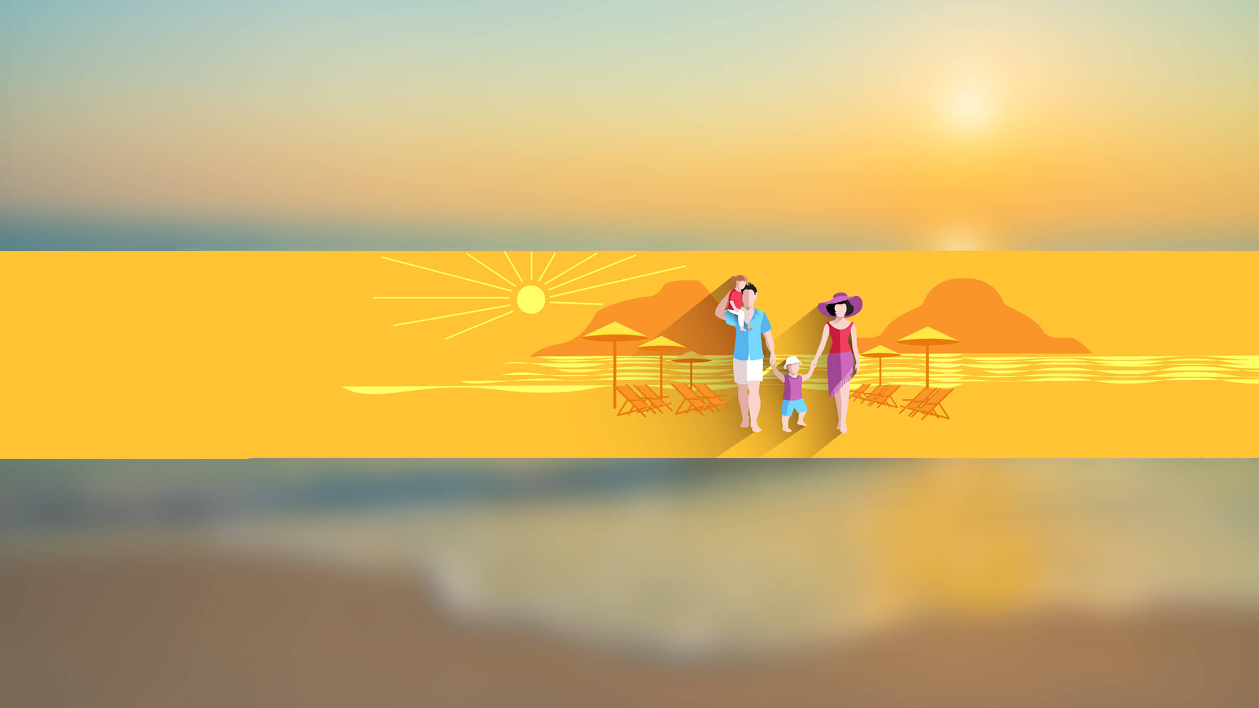 Жёлтая картинка для ютуба люди на песчаном пляже