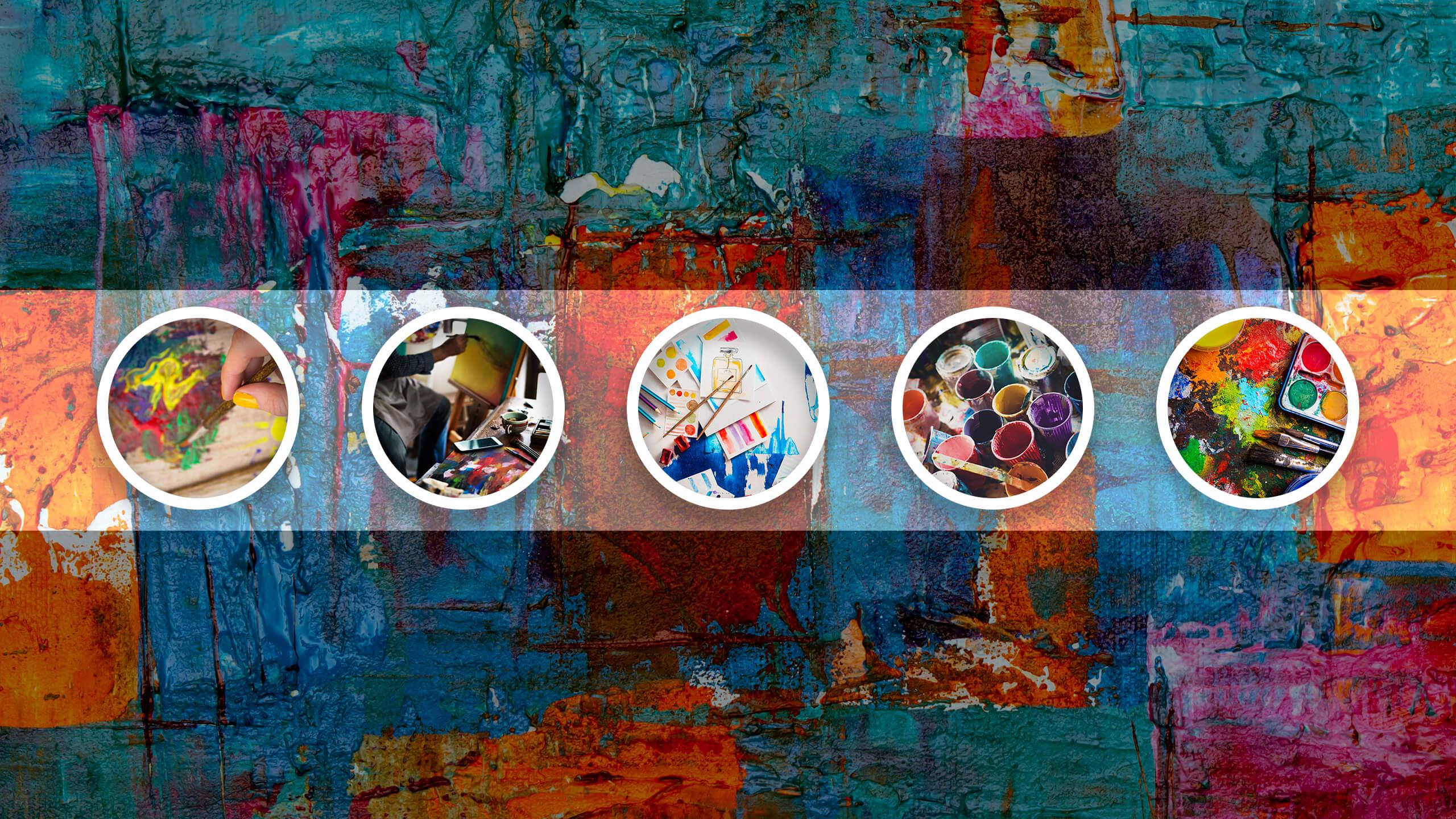 Изображение палитры с красками размером 2560 х 1440 пикселей.