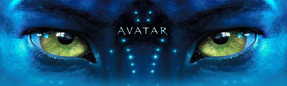 Картинка категории аватарки для форумов: крупный план синего лица с жёлтыми глазами с надписью avatar