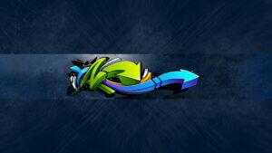 Картинка макет шапки для youtube с голубым графическим дизайном