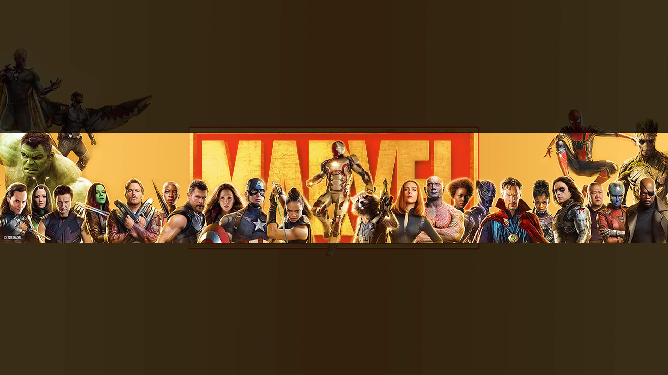 Картинка с фантастическими персонажами на фоне надписи Марвел.
