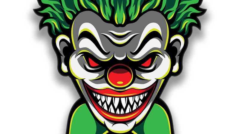 Картинка на аву для пацанов с зелёной головой клоуна - монстра.
