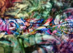 Картинка пустая шапка для ютуба с красочным граффити.