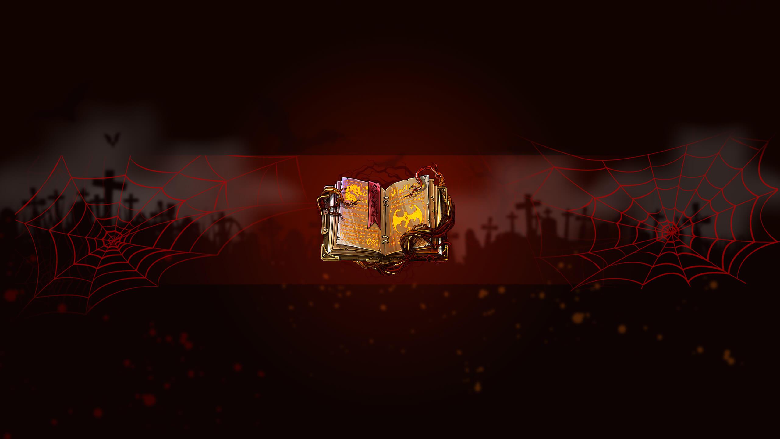 Картинка с книгой заклинаний на бордовом фоне для оформления канала на ютубе.