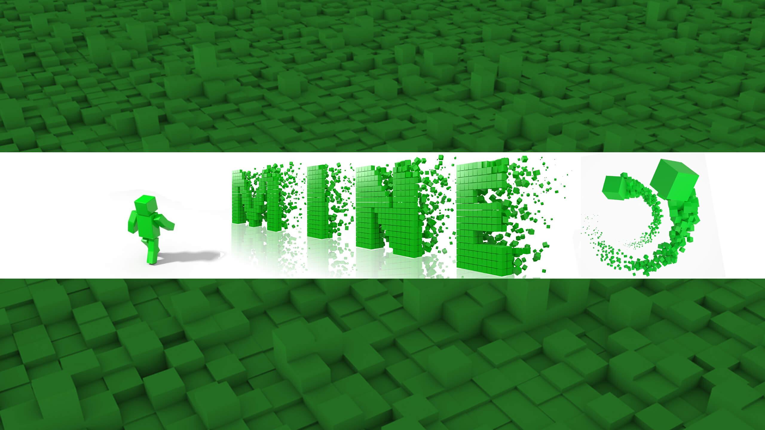 Зелёный фон для ютуба с надписью mine.