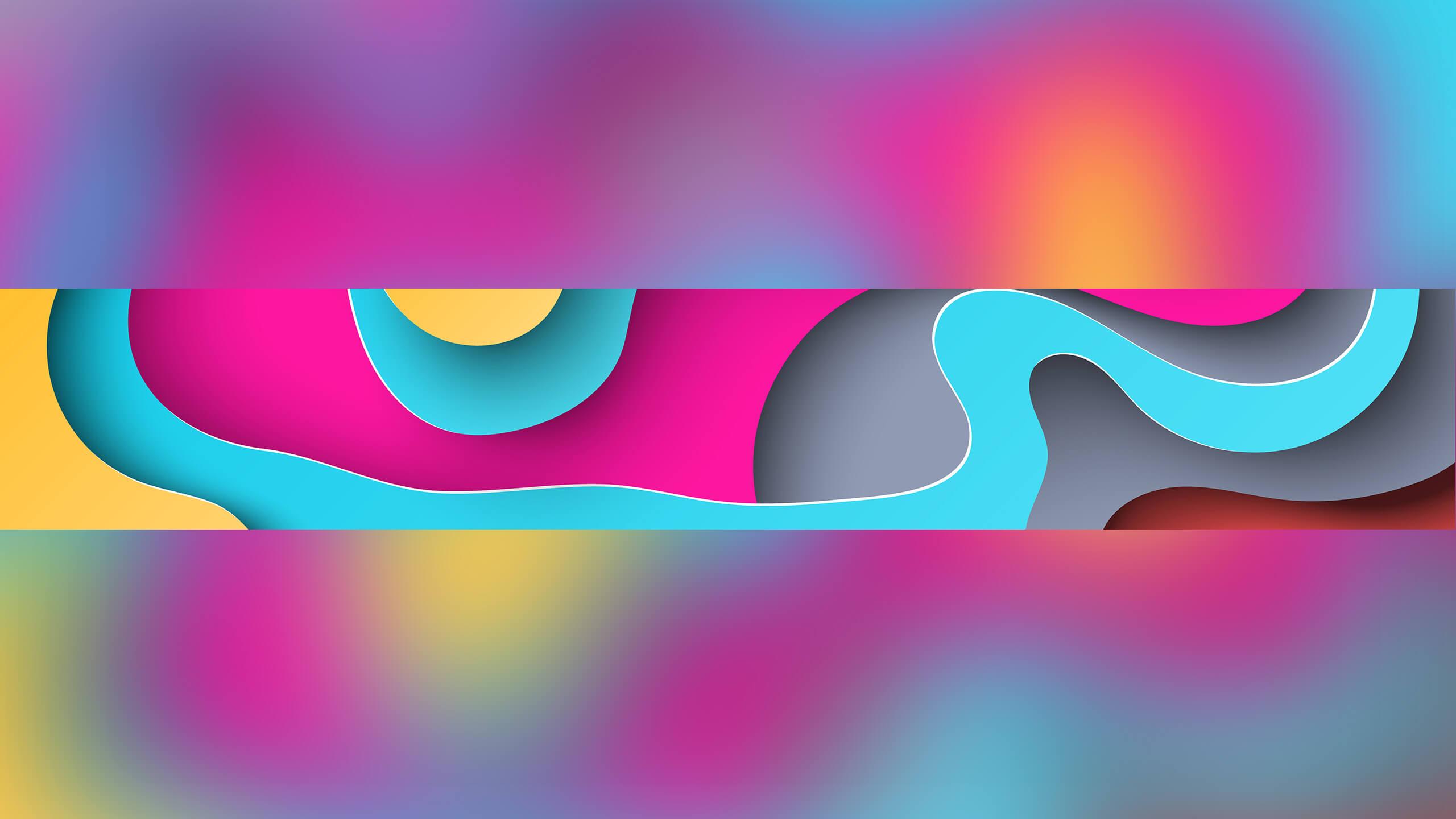 Картинка для ютуб канала с 3д эффектом из голубых, розовых и жёлтых узоров.