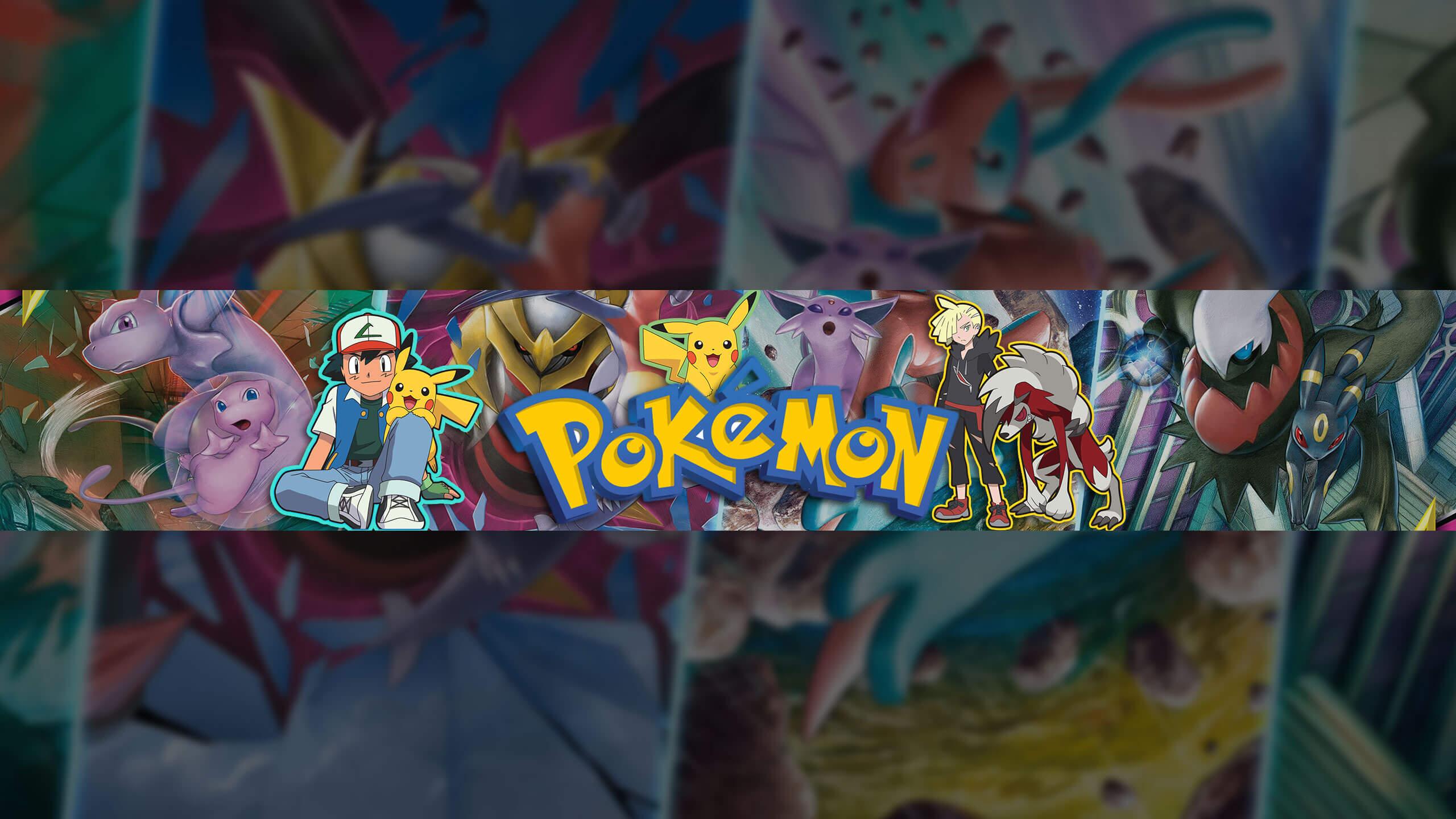 Картинка для аниме шапки для ютуба 2560 х 1440 с персонажами мультика покемоны.