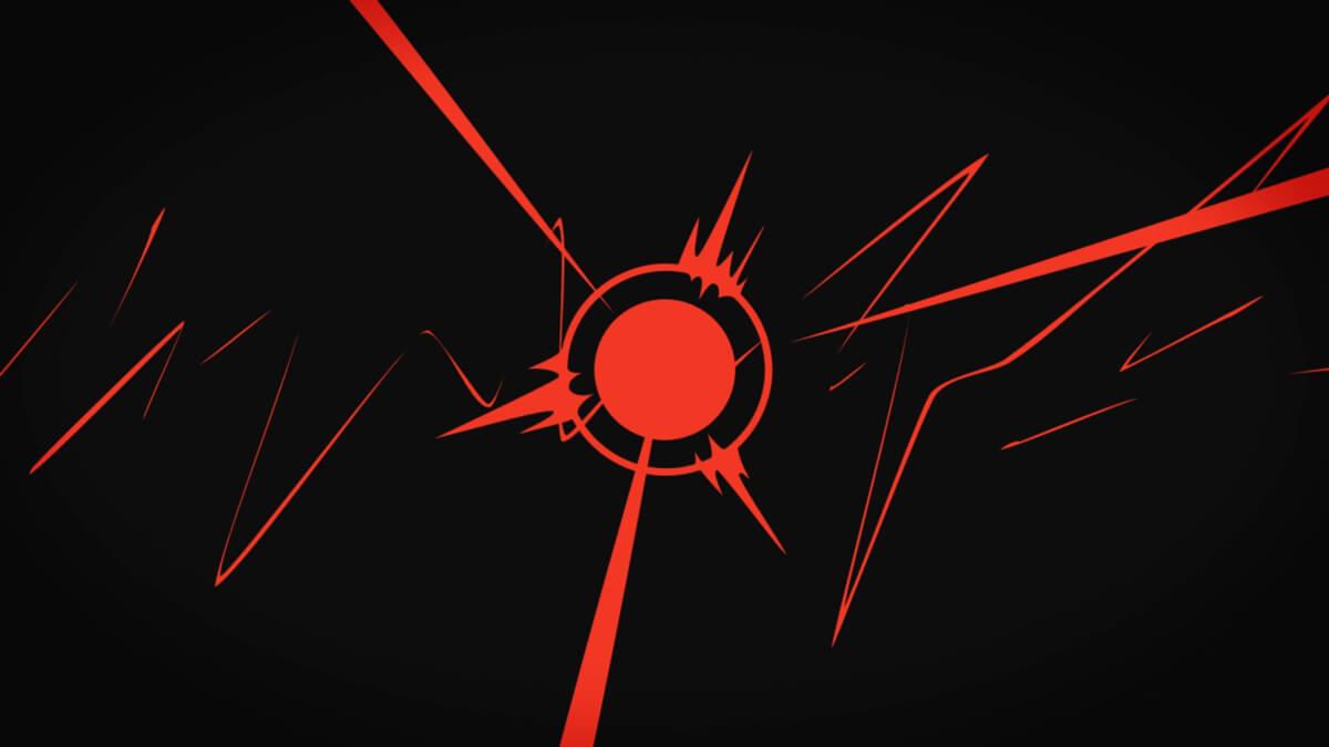 Картинка на интро аниме с красной графикой на чёрном фоне.