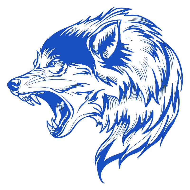 Картинка синего волка для аватарки на ютуб канал.