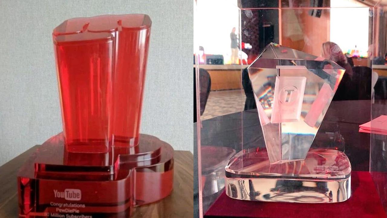 Картинка рубиновая премия из прозрачного пластика с логотипом ютуба для канала Pewdiepie и T-Series