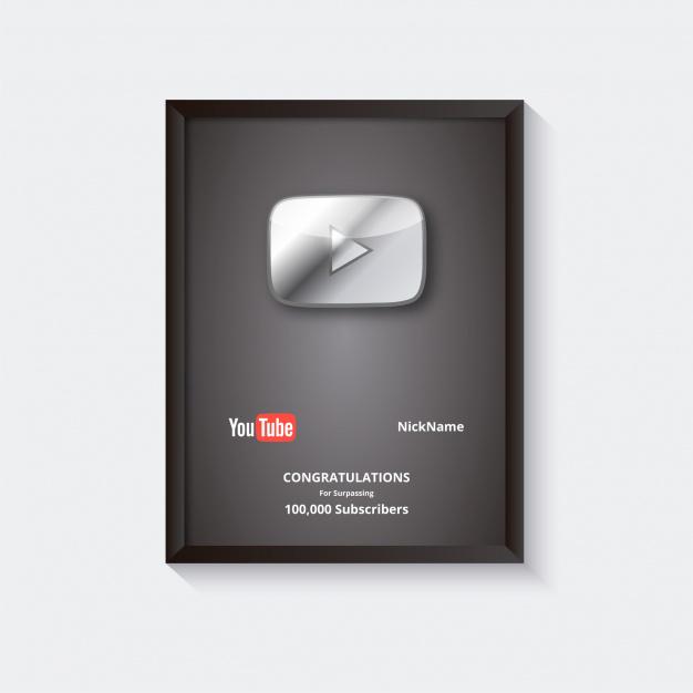 Картинка рамка с логотипом и текстом за серебряную премию ютуба в 100 000 подписчиков