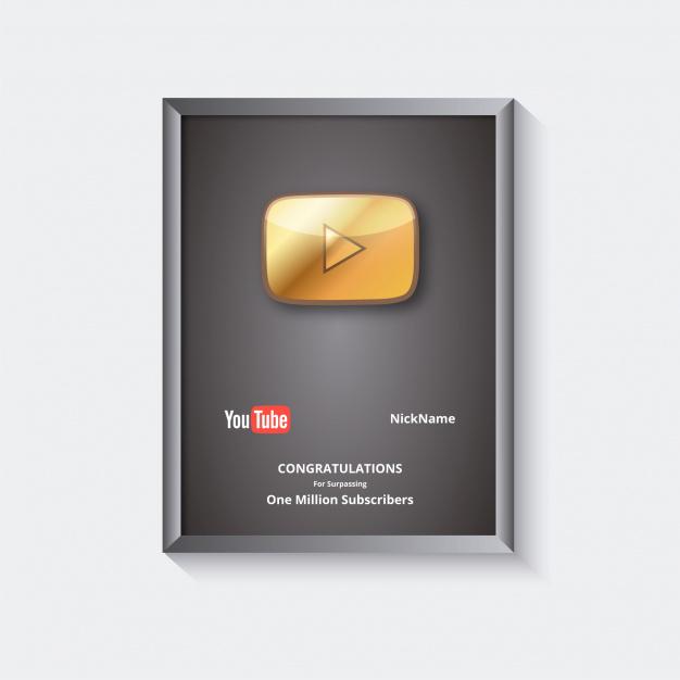 Картинка рамка дипломом от ютуба за 1 000 000 подписчиков