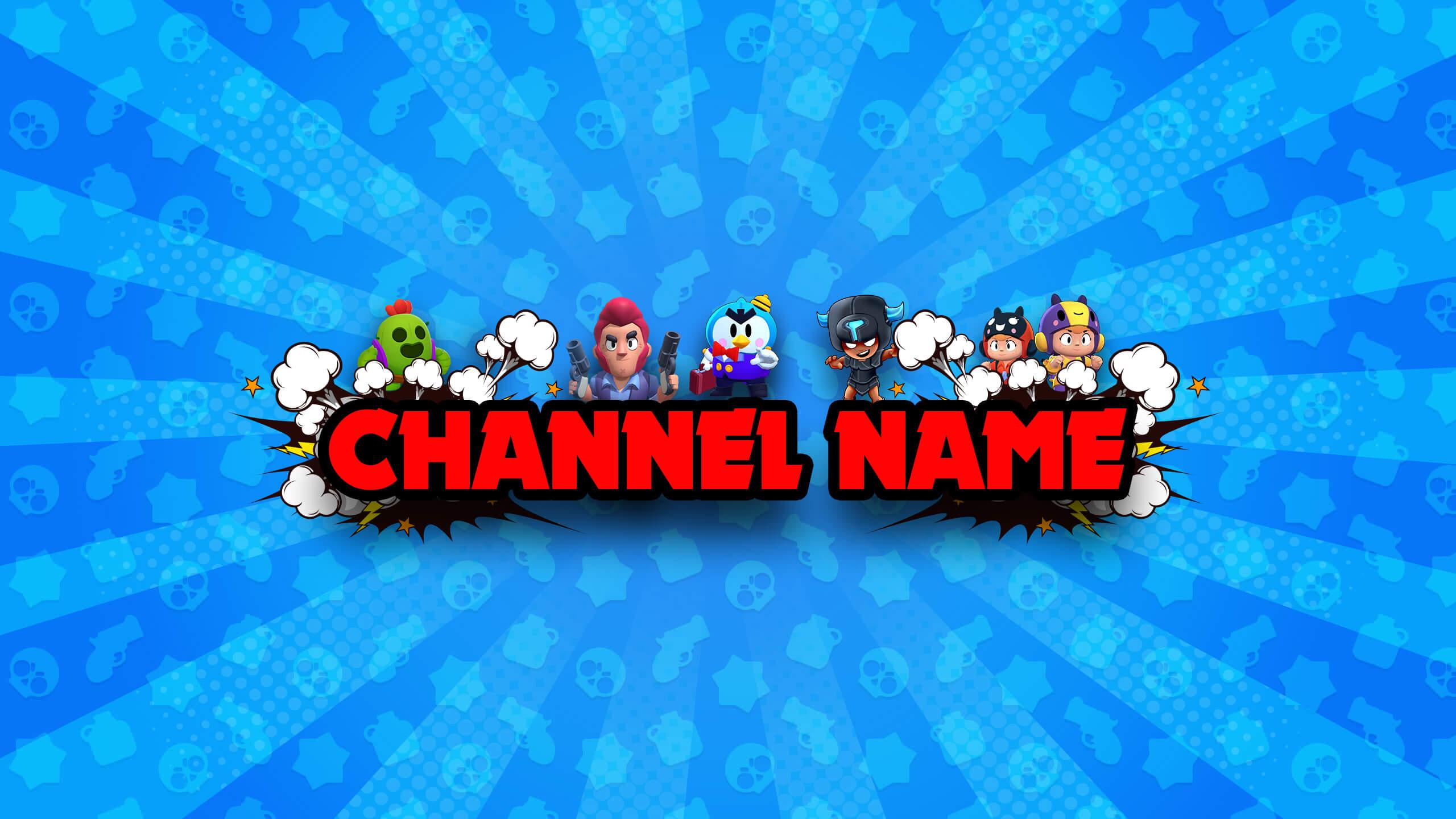 Голубая картинка - шапка на ютуб с персонажами игры браво старс и красным текстом.