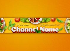 Жёлтая картинка на баннер для кулинарного канала с продуктами питания.