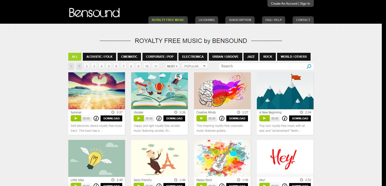 Картинка сток музыки без авторских прав Bensound