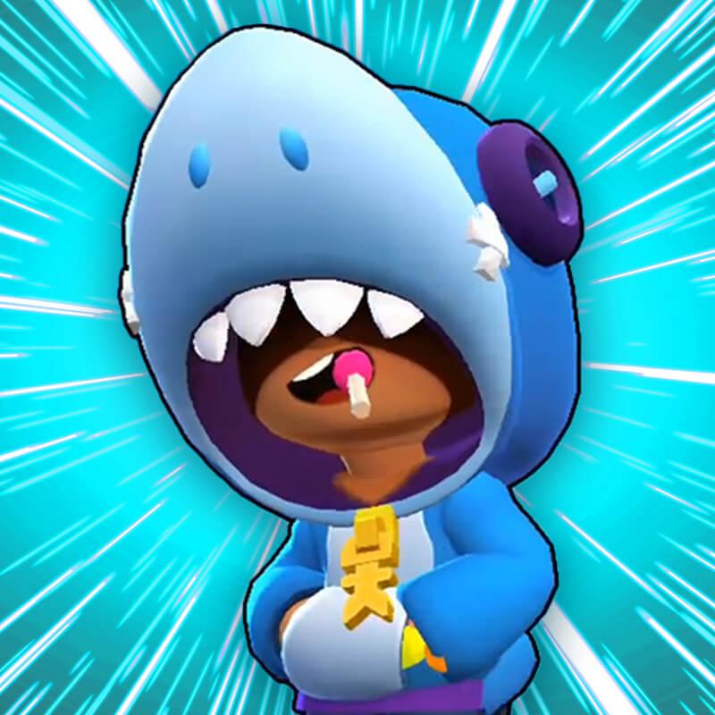 Аватарка Леон из brawl stars на лазурном фоне.