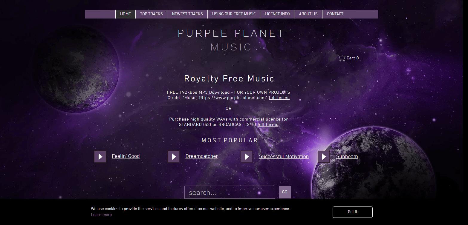 Картинка сайт с музыкой без авторских прав Пурпурная планета