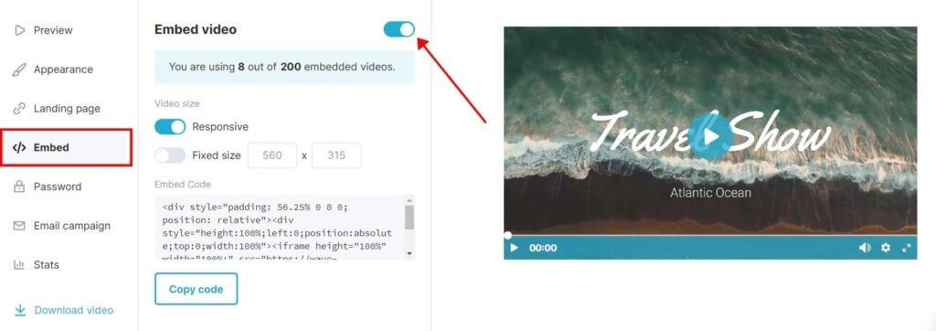 Картинка как загрузить видео на сайт с хостинга Wave.video